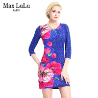 Max LuLu Fashion V Neck Designer Womens Printed Dresses Autumn Casual Brief European And American Style