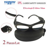 Weimeng 2 pieces IPL Laser safety goggles eye protection black PC spectacles frame light glass lens OD+6 For IPL Laser Machine