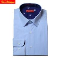 Men S Dress Shirt Long Sleeve Baby Blue Pin Striped Fashion Slim Fit Business Formal Work
