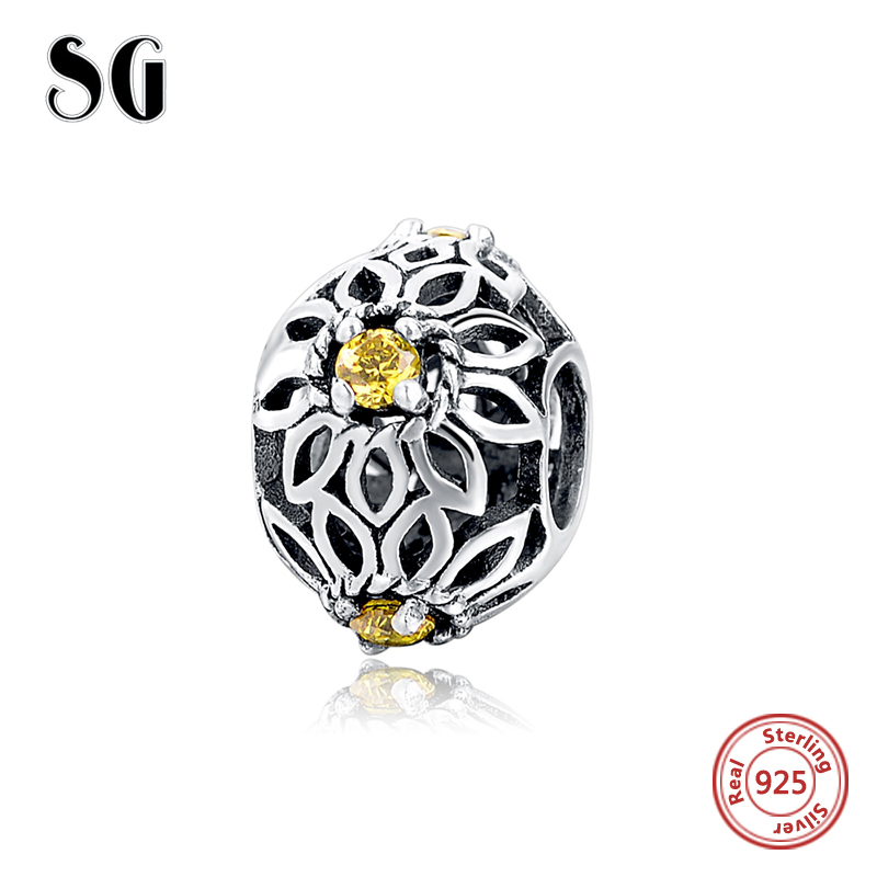 New Arrival Summer crystal beads Yellow Flowers Charms fit pandora Charms Bracelets Pendant Antique Jewelry making for women