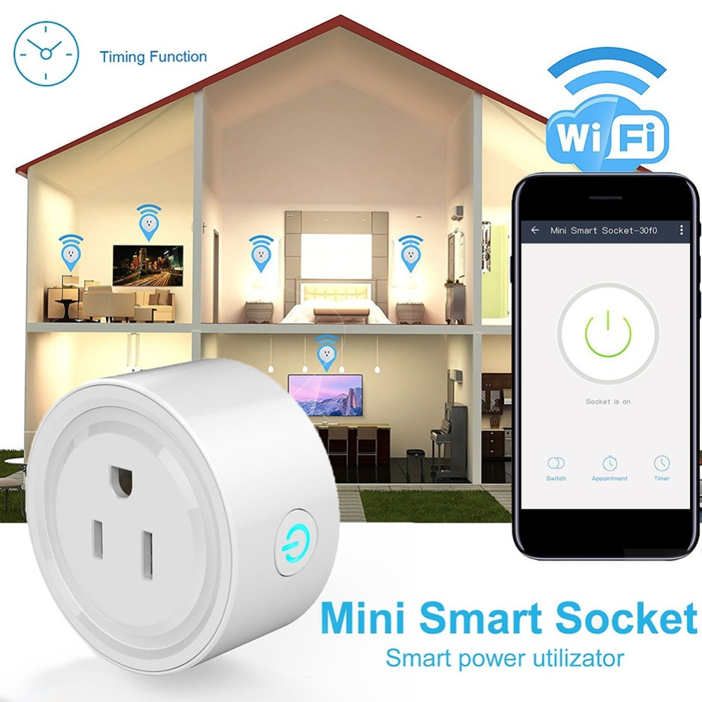 Mini Smart Socket Wifi Electrical Sockets Timer US Plug Wifi Remote Control Power Strip Timing Switch Plugs Adaptors