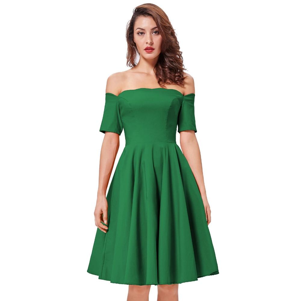 Green Red Black Dress Off Shoulder Dresses Short Sleeve Vintage 50s Atasan Synthesis Hitam Shop At Velvet Elegant Belle Poque Mengacak Acak Leher Lipit Padat Lengan Pendek Bahu Pernikahan