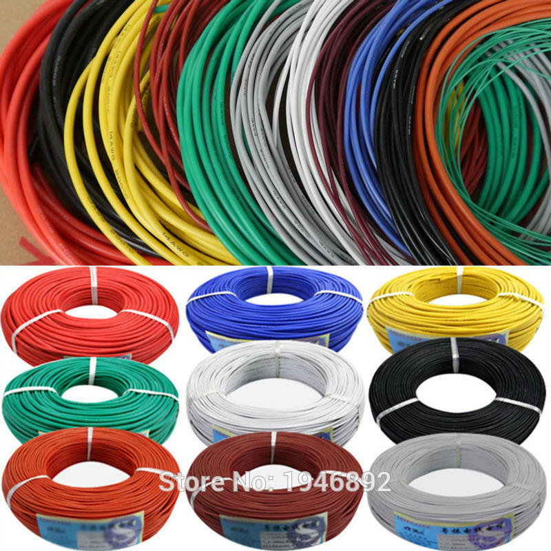 цены 10 Meters/lot 30AWG Flexible Silicone Wire RC Cable 30AWG 11/0.08TS Outer Diameter 1.2mm With 10 Colors to Select