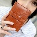 2016 High Quality Women Wallets Oil Wax Leather Ladies short  Luxury Purse Women's Designer Wallets Famous Brand Woman Wallet