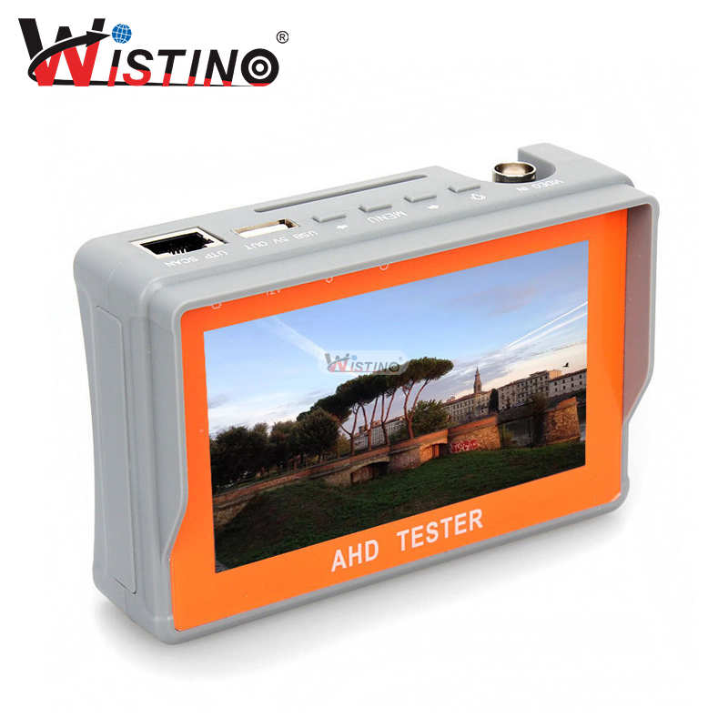 Wistino 4.3 Inch HD AHD TVI CCTV Camera Tester Audio 12V1A 5V2A Monitor UTP Cable Test 1080P 720P Surveillance Tester Output 3 5 inch tft led audio video security tester cctv camera monitor