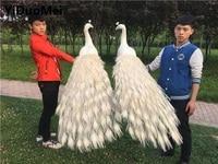 Белые перья Павлин большой 150 см любителей павлины птица один лот/2 шт. модель ремесла, опора, домашний сад украшения подарок p280