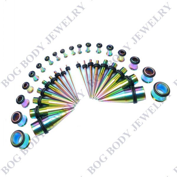 36piece Rainbow Surgical Steel Titanium Ear Gauging Kit, Stretcher Tapers & Single Flared Tunnel Jewelry kit Piercing Jewelry