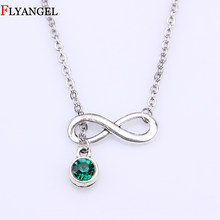 Hot New Style Infinity Birthstone Silver Color Pendant Necklace Fashion Eight 8 Infinity Symbol Chain Necklace For Women Jewelry(China)