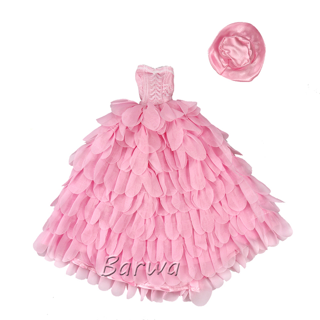 Newest Fashion Handmade Pink White Dress With Hat Wedding Evening Princess Party Clothes Doll accessories For Barbie Doll Gift 3