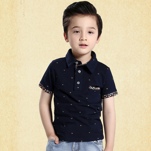 2017 new summer boys short-sleeved t-shirt children's clothing kids turn-down collar print 100% cotton tops t-shirts 110-170