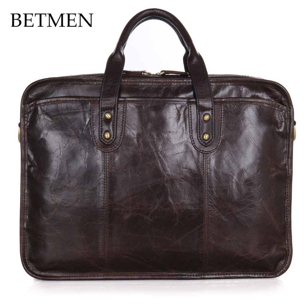 BETMEN Vintage Luxury Genuine Leather Bag Men Brand Handbag Shoulder Bags Business Men Briefcase Laptop Bag Large Capacity