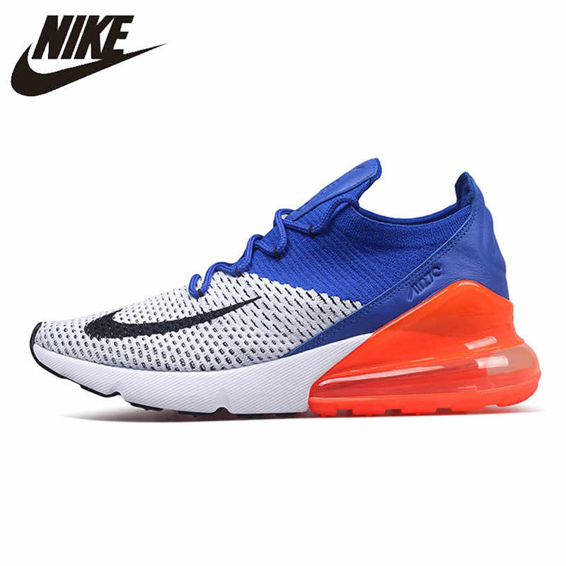 2096fdd74c2b2 Nike Air Max 270 Cushion Sneakers Sport Flyknit Running Shoes Classic Blue  Orange Black AO1023-