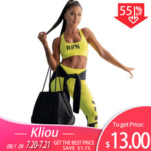 Kliou women fitness two pieces set neon color sportswear tank top bra with cups outfit 2019 skinny high waist leggings tracksuit(China)