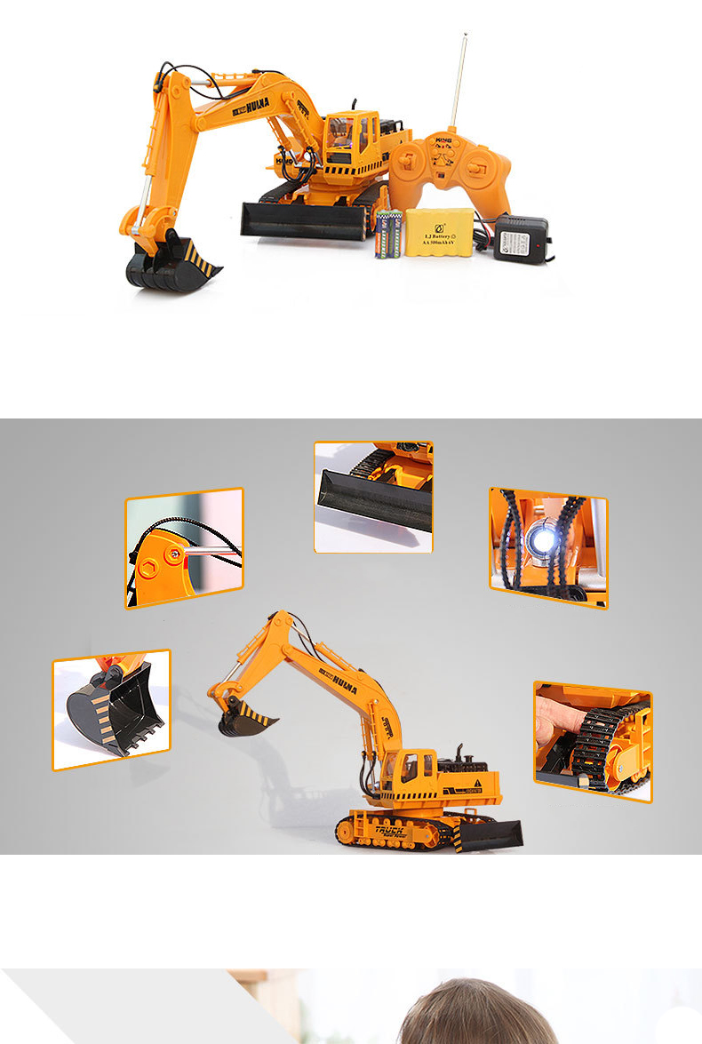 Large 11 Channels RC Excavator RC Car Remote Control Toys Car Electric Excavator Charging Electric Vehicle Toys For Kids Boys 12