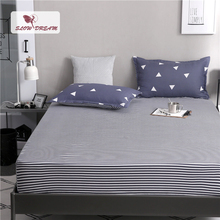 Slowdream 1PCS Geometry Striped Bed Sheets On Elastic Band Rubber Sheet Simple Style Fitted Mattress Covers Corners