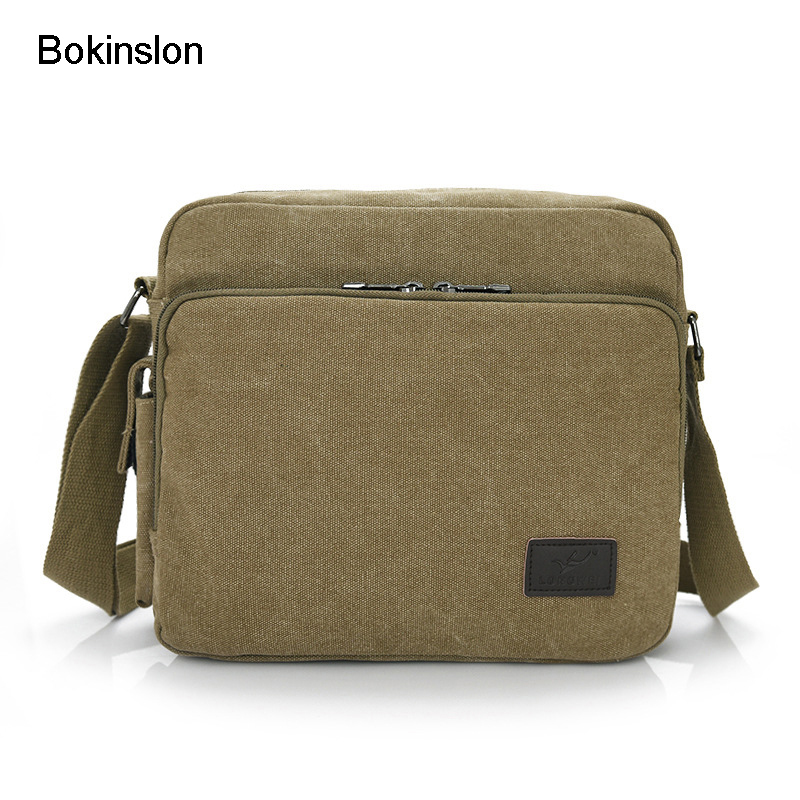 Bokinslon Canvas Bags For Men Retro Popular Man Crossbody Bag Solid Color Casual Fashion Shoulder Bags Male casual canvas satchel men sling bag