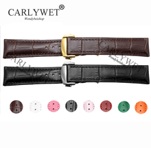 CARLYWET 18mm Genuine Calf Cowhide Leather Crocodile Grain Vintage Wrist Watch Band Strap with Silver Clasp for Brand