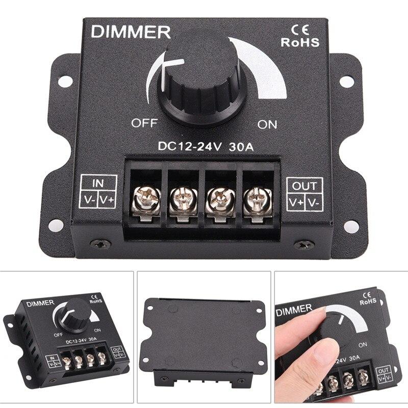 1pcs Dc 12v 24v 360w 30a Led Dimmer Adjustable Brightness Lamp Bulb Strip Driver Single Color Light Power Supply Controller