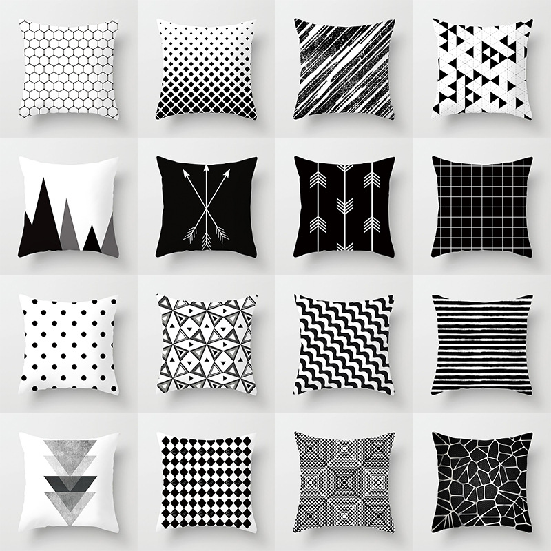 Geometric Cushion Cover Black and White Polyester Throw Pillow Case Striped Dotted Grid Triangular Geometric Art Cushion Cover(China)