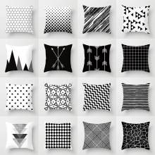 Геометрическая наволочка для подушки, черно-белая полиэфирная наволочка для подушки в полоску, в горошек, в сетку, треугольная наволочка для подушки с геометрическим рисунком