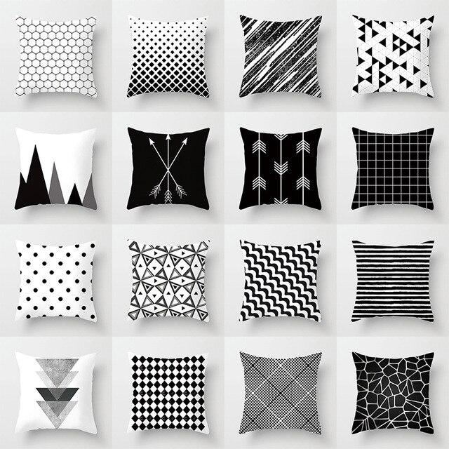 Fodere per Cuscini geometrici in Bianco e Nero In Poliestere Coperte e Plaid Cop