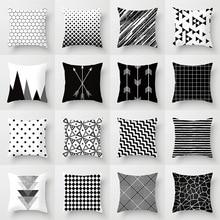Funda de cojín geométrica blanco y negro funda de almohada de poliéster a rayas con puntos de rejilla Triangular arte geométrico funda de cojín