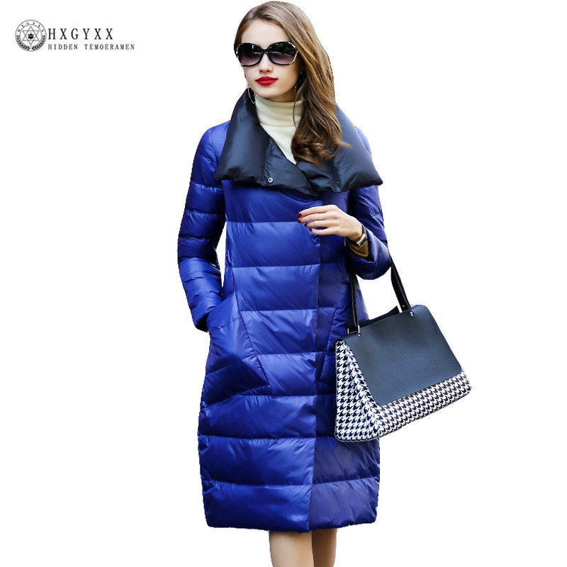 2017 New Long Women Winter Down Coat Stand Collar Slim Warm White Duck Down Jacket Goose Feather Parka Female Outwear OKB328 australia new white goose down jacket female long thick knee thickening slim size winter coat