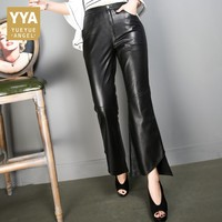 Office Lady Leather Trousers 2019 New Fashion Elegant Comfort Womens Full Length Pants Streetwear Mid Waist High Quality Pant