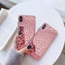 Fundas de teléfono de lujo con estampado de leopardo a la moda para iphone 11 Pro max X XR XS Max Case para iphone 8 7 6S 6 plus funda trasera suave brillante