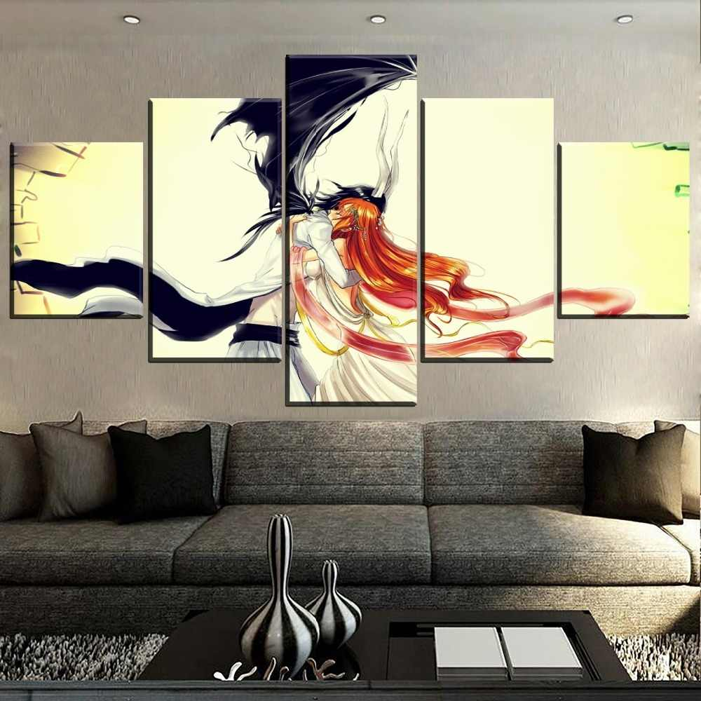 Modern artwork 5 pieces orihime inoue and ulquiorra cifer modular picture canvas print anime bleach painting