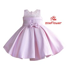 New Bowknot Flower Girl Dresses For Weddings Kids Pageant Dress For Girls Ruffle Tank Bow Zipper Pure Princess Dress