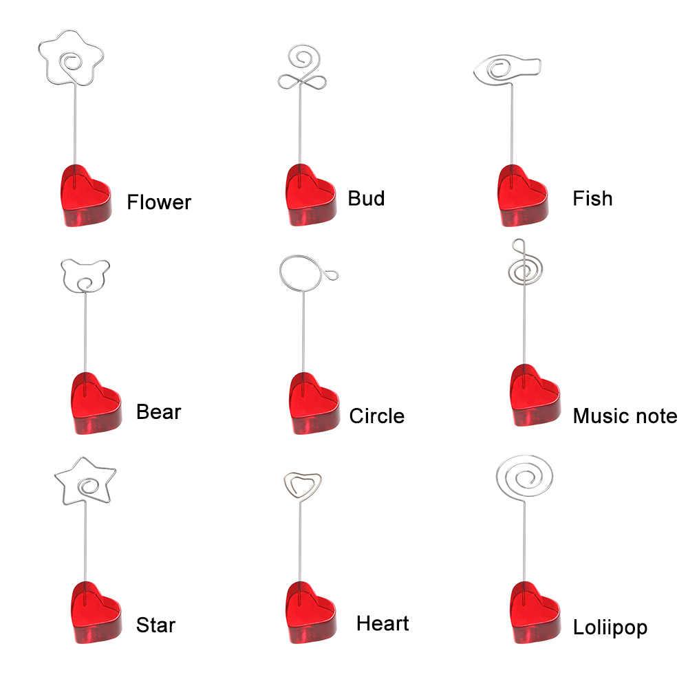 1 шт., подарок, настольный орнамент, домашний декор, держатель для заметок, зажим для карт в форме животного, красное сердце, подставка для фотографий, Свадебный орнамент