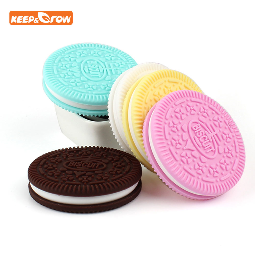 Keep&grow BPA Free Silicone Baby Teether Biscuit Nursing Accessories Dental Training Cookies Silicone Teether Baby Bites Toys