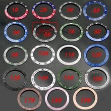 Lunette en céramique et titane, pour montre automatique GMT, 38mm, rouge noir bleu vert