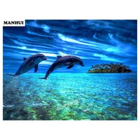 Rhinestone Painting Crystal Home Decor DIY Diamond Painting Dolphin 5D Cross Stitch Pattern Diamond Embroidery AA060