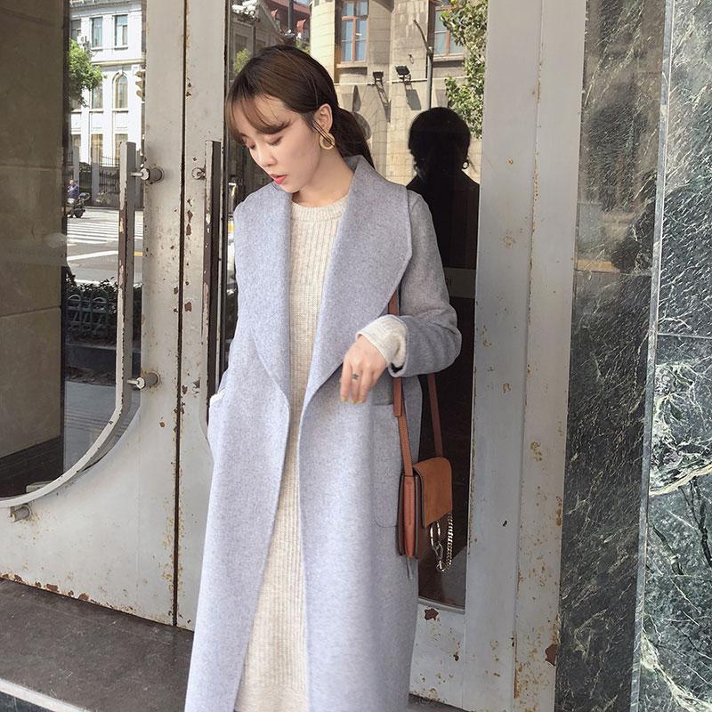2018 Женская Осенняя одежда новый стиль большой отворот корейский v образный вырез ремень тонкий серый шерстяной пальто длинное шерстяное па