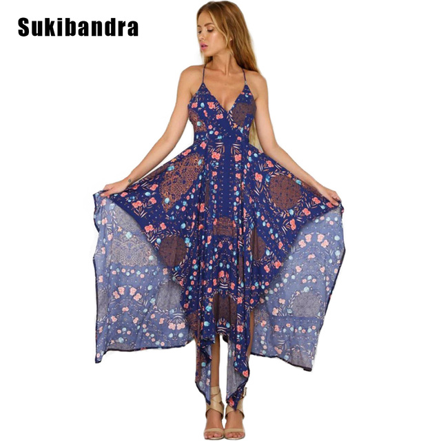 de62cae6ad3 Sukibandra Summer Maxi Long Floral Print Women Slip Dress Sleeveless  Backless Sexy Asymmetrical Boho Beach Spaghetti Strap Dress