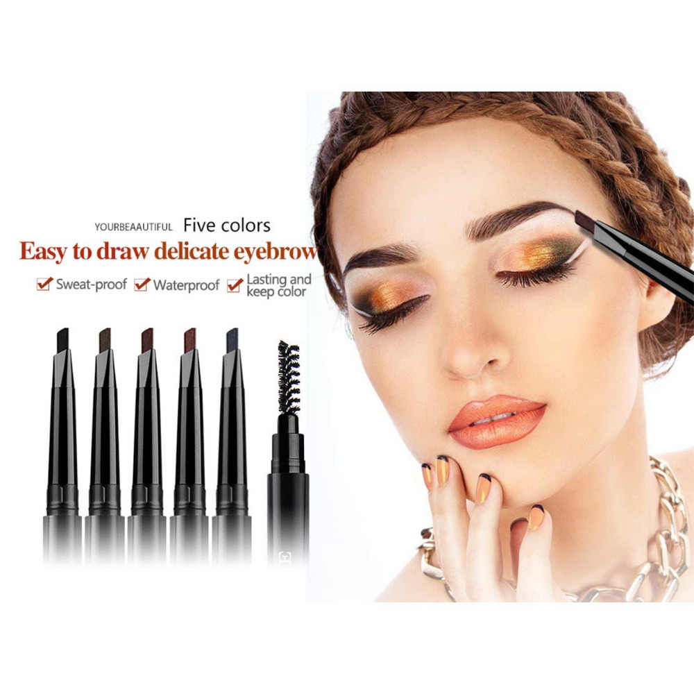 5 colors Longlasting Eyebrow Pencil Waterproof Durable Automatic Eyebrow Liner With Brush Cosmetic Makeup Tool Longlasting