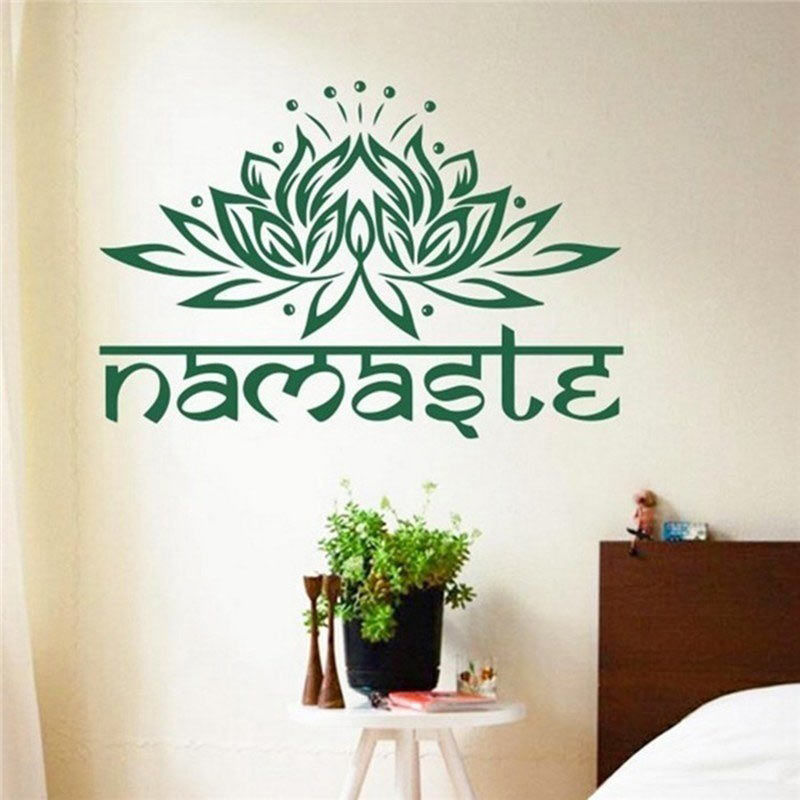 Home Wall Stickers Decal India Namaste Word Religion Lotus Ganesha Bedroom  Flower Home Decoration Hot Sale