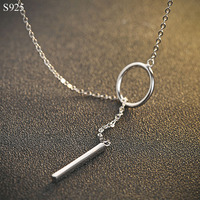 Genuine Real Pure Solid 925 Sterling Silver Pendant Long Necklace For Women Fine Jewelry Bijoux Female