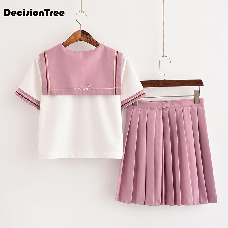 2019 japanese school uniform korean school uniforms girl cute sailor tops skirt full set cosplay jk costume in School Uniforms from Novelty Special Use