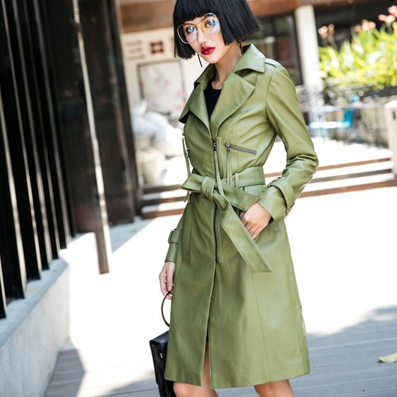 Autumn winter new fashion Women long Faux   Leather   PU trench coats loose plus size female PU coats gx1229 drop shipping