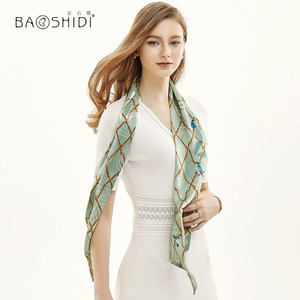 Image 4 - [BAOSHIDI] 2019 Moda Primavera Duplo Rosto Magro, 100% Fita de cetim de Seda, Lenço Elegante, acessório do cabelo senhora cachecol mulheres