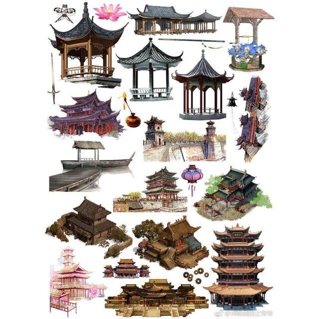 2 unids/lote Retro chino edificio Deco Scrapbook diario papelería pegatinas planificador calendario arte de la escuela suministros de arte