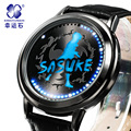 Naruto Xingyunshi Anime LED Touch Screen Hyun 3ATM Waterproof Leather Watch Men and Women Luminous Watch relogios masculino