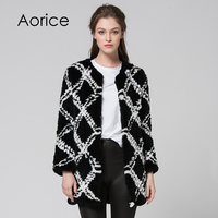 CR074 Genuine Rabbit Fur Coat Real Fur Knitted Knit Long Style Jacket Womens Winter Warm Plus
