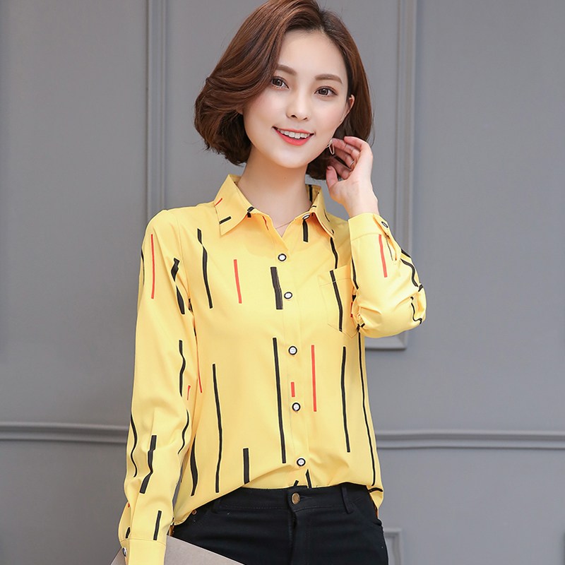 Blouses Women shirt New Fashion Striped Lantern Sleeve Turn-down Collar Long sleeve Blouse Women Top cloth 2018 G04