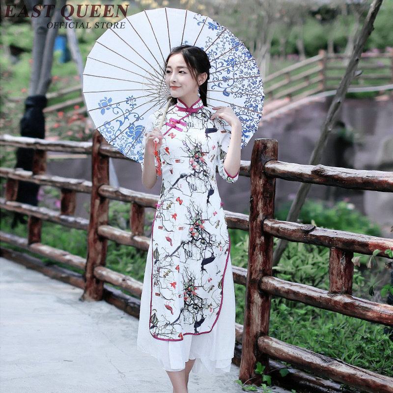 Summer Chinese Oriental Dresses Elegant Oriental Styled Dresses Women Floral Print Traditional Chinese Dress NN0276 cE