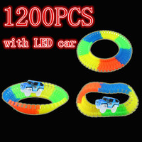 1200PCS Magic Glow In The Dark Glow Race Track Create A Road Bend Flexible Tracks With