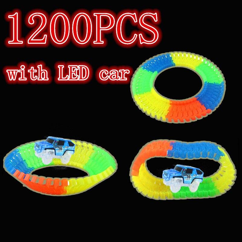 1200 pièces lueur magique dans la piste de course de lueur sombre créer une piste Flexible de virage de route avec 5 voitures lumière LED Up jouets éducatifs